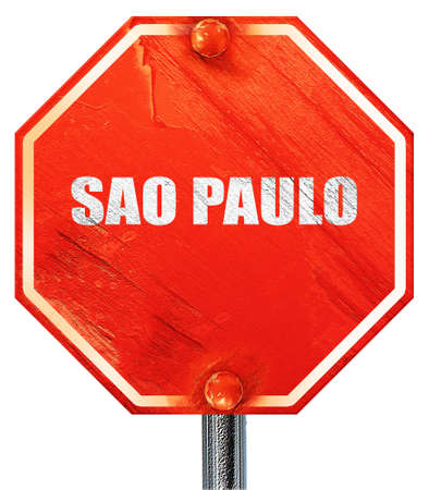 tourists stop: sao paulo, 3D rendering, a red stop sign
