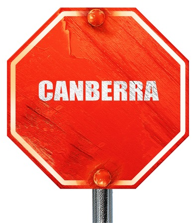 Canberra: canberra, 3D rendering, a red stop sign