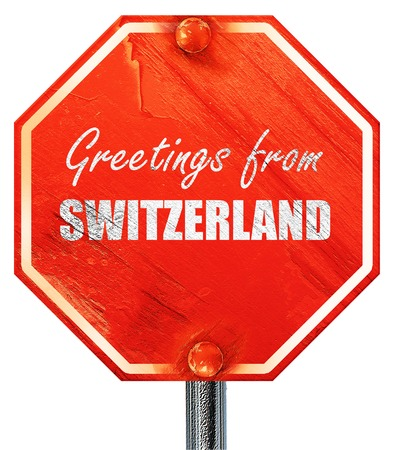 Greetings from switzerland card with some soft highlights 3d greetings from switzerland card with some soft highlights 3d rendering a red stop sign m4hsunfo