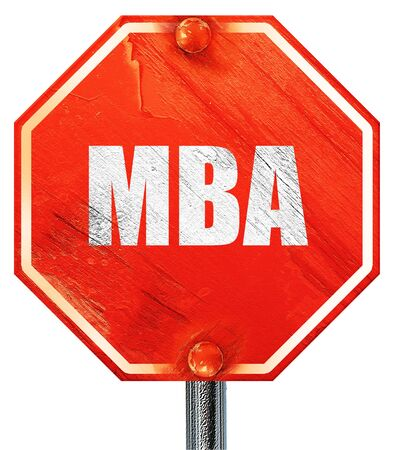 mba: mba, 3D rendering, a red stop sign