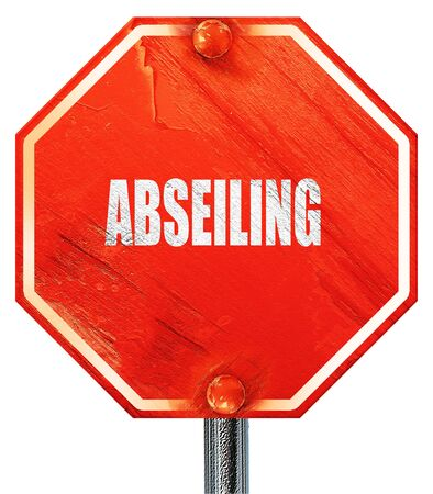 abseiling: abseiling sign background with some soft smooth lines, 3D rendering, a red stop sign
