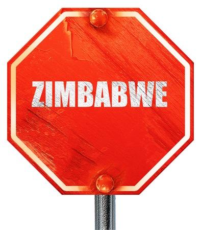zimbabwe: zimbabwe, 3D rendering, a red stop sign Stock Photo