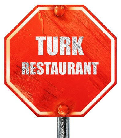 turk: turk restaurant with some soft lines, 3D rendering, a red stop sign Stock Photo