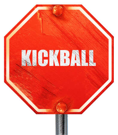 kickball: kickball sign background with some soft smooth lines, 3D rendering, a red stop sign