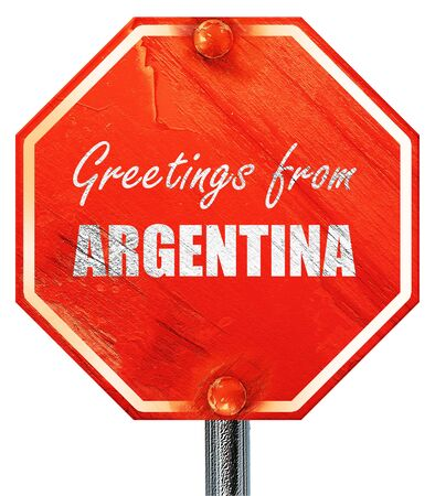 argentine: Greetings from argentine card with some soft highlights, 3D rendering, a red stop sign