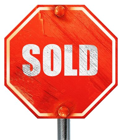 sold sign: sold sign background with some soft smooth lines, 3D rendering, a red stop sign Stock Photo