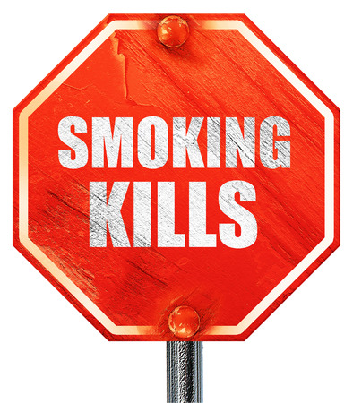 killing cancer: smoking kills, 3D rendering, a red stop sign Stock Photo
