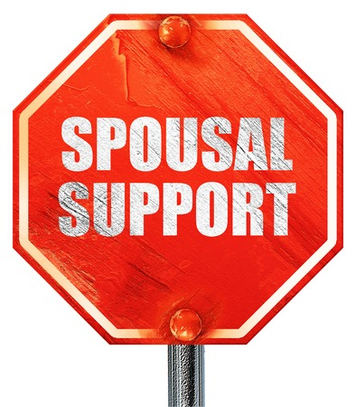 obligated: spousal support, 3D rendering, a red stop sign