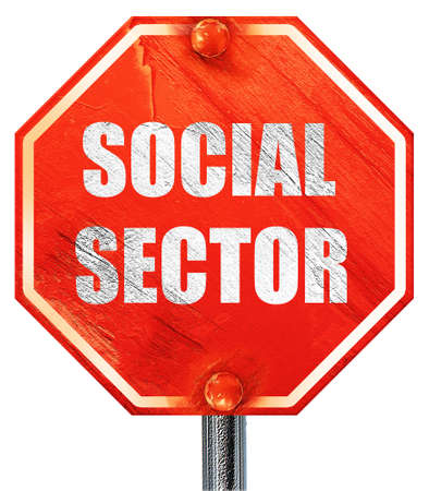 wap: social sector, 3D rendering, a red stop sign