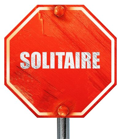 solitaire: solitaire, 3D rendering, a red stop sign