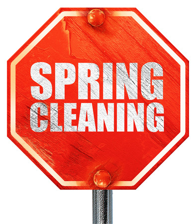 spring cleaning: spring cleaning, 3D rendering, a red stop sign Stock Photo