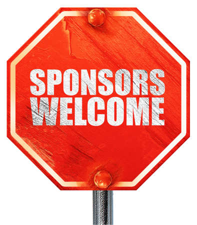 sponsors: sponsors welcome, 3D rendering, a red stop sign Stock Photo