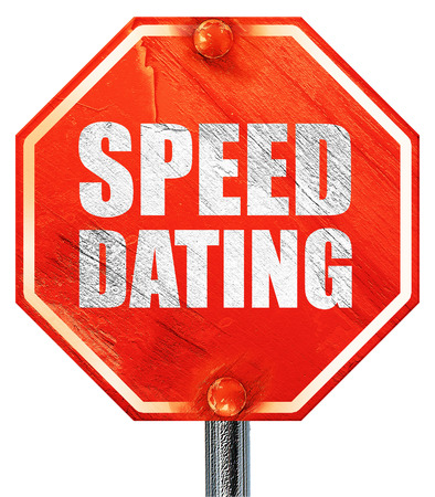 speed dating: speed dating, 3D rendering, a red stop sign