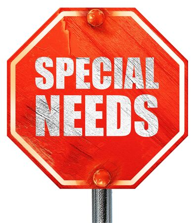 special needs: special needs, 3D rendering, a red stop sign Stock Photo