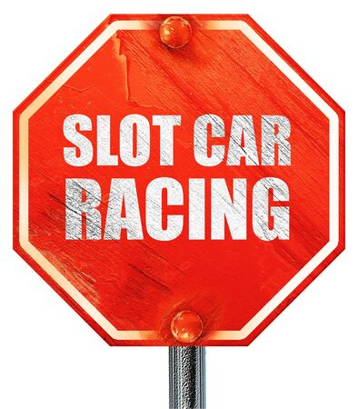 slot car track: slot car racing, 3D rendering, a red stop sign Stock Photo