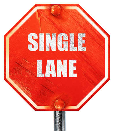 one lane sign: Single lane sign with yellow and black colors, 3D rendering, a red stop sign Stock Photo