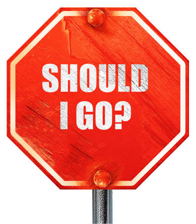 indecisiveness: should i go, 3D rendering, a red stop sign Stock Photo