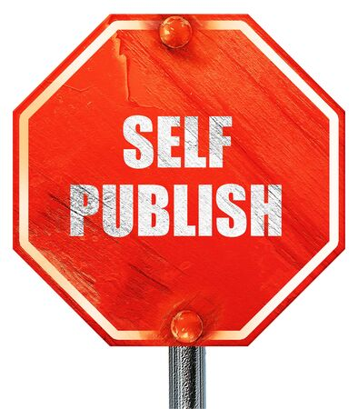self publishing, 3D rendering, a red stop sign