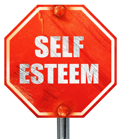 self worth: self esteem, 3D rendering, a red stop sign