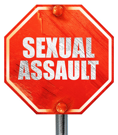 asalto sexual, 3D, una señal de stop roja Foto de archivo