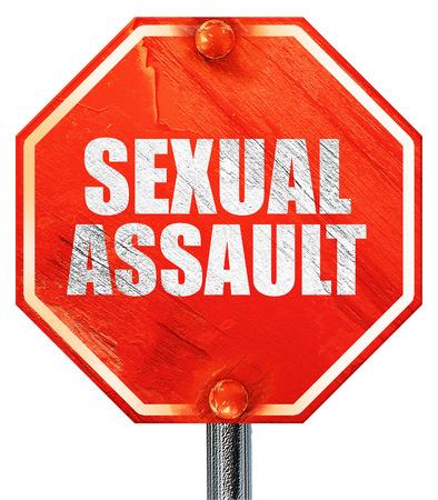 assault: sexual assault, 3D rendering, a red stop sign