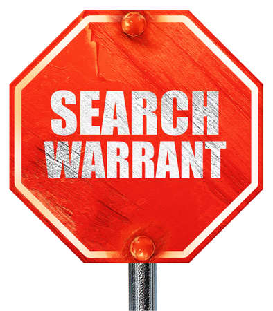 prosecutors: search warrant, 3D rendering, a red stop sign Stock Photo
