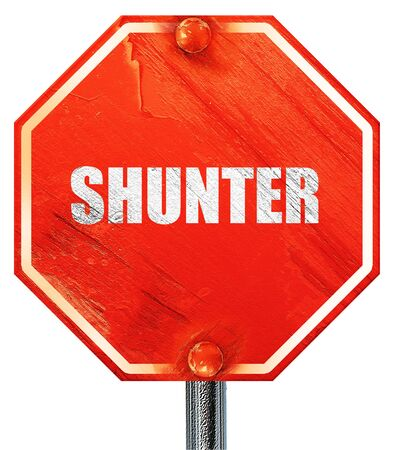 shunt: shunter, 3D rendering, a red stop sign