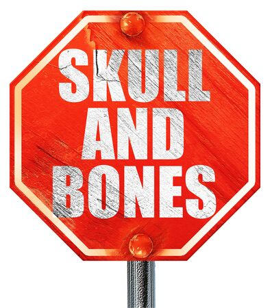 secret society: skull and bones, 3D rendering, a red stop sign