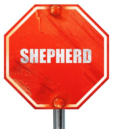 sheep road sign: shepherd, 3D rendering, a red stop sign