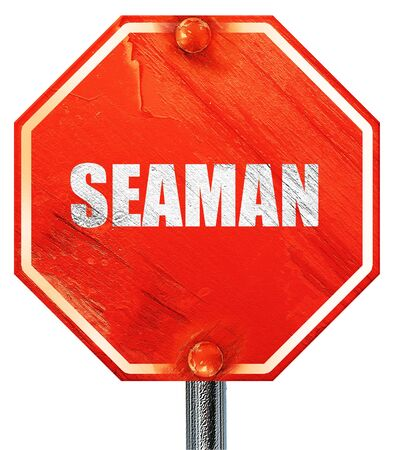 seaman: seaman, 3D rendering, a red stop sign Stock Photo