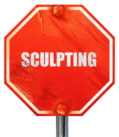 sculpting: sculpting, 3D rendering, a red stop sign