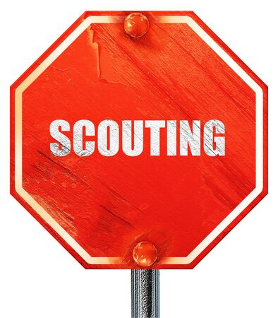 scouting: scouting, 3D rendering, a red stop sign