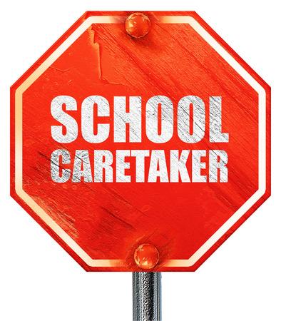 caretaker: school caretaker, 3D rendering, a red stop sign Stock Photo