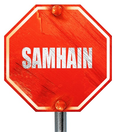 Samhain sign, 3D rendering, a red stop sign Stock Photo