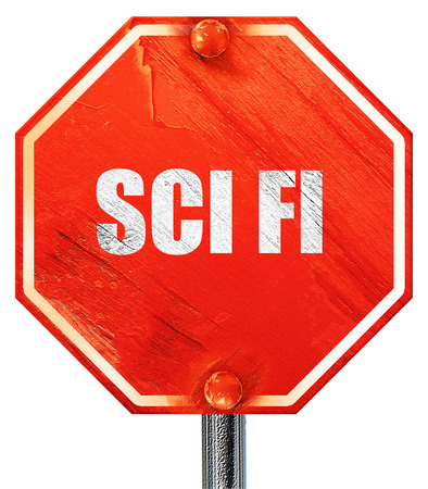 sci: sci fi, 3D rendering, a red stop sign Stock Photo
