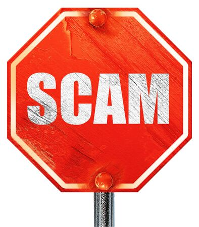 scamming: scam, 3D rendering, a red stop sign Stock Photo
