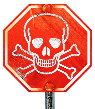 poison sign: Poison sign background with some soft scratches and dents, 3D rendering, a red stop sign Stock Photo