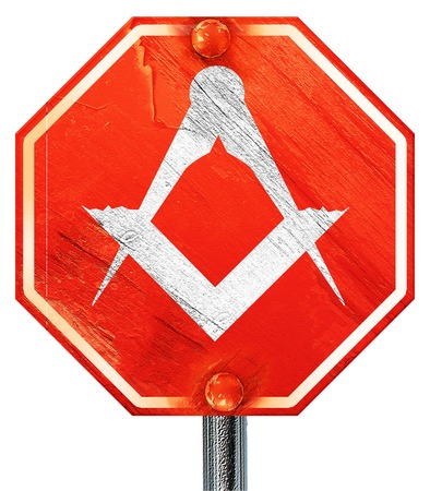 freemasonry: Masonic freemasonry symbol with some soft smooth lines, 3D rendering, a red stop sign