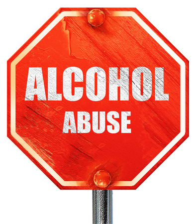alcohol abuse: Alcohol abuse sign with some soft flowing lines, 3D rendering, a red stop sign Stock Photo