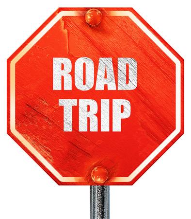roadtrip: roadtrip, 3D rendering, a red stop sign