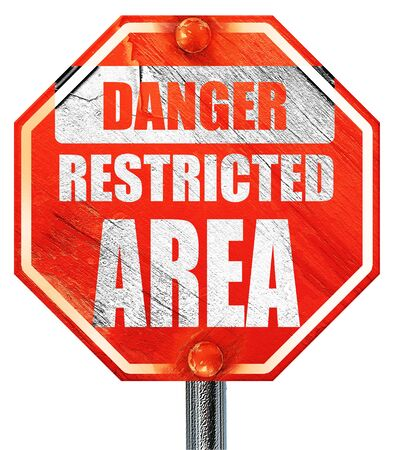 strangers: Restricted area sign with some smooth lines, 3D rendering, a red stop sign
