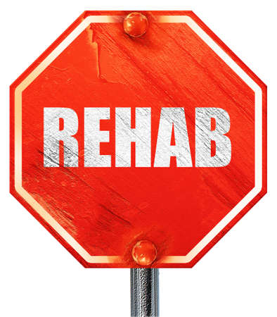 rehab: rehab, 3D rendering, a red stop sign