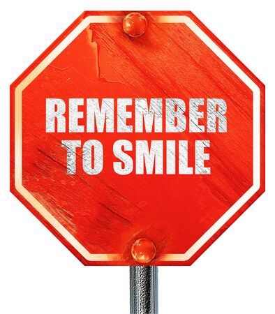 recordar: recuerde sonre�r, 3D, una se�al de stop roja