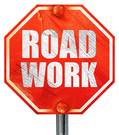 road work: road work, 3D rendering, a red stop sign