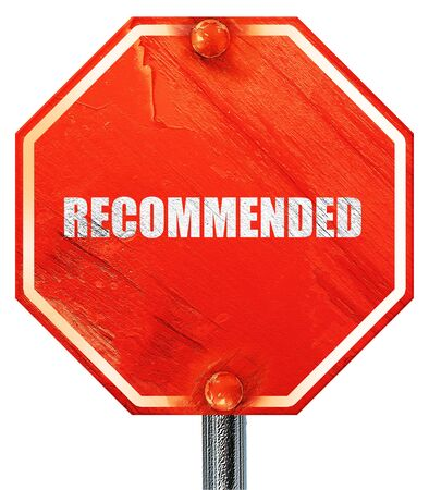 recommended: recommended, 3D rendering, a red stop sign Stock Photo