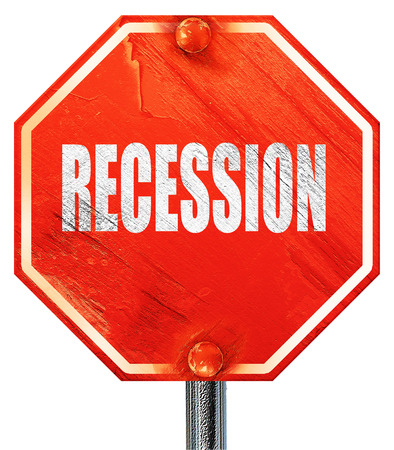 recession: recession, 3D rendering, a red stop sign