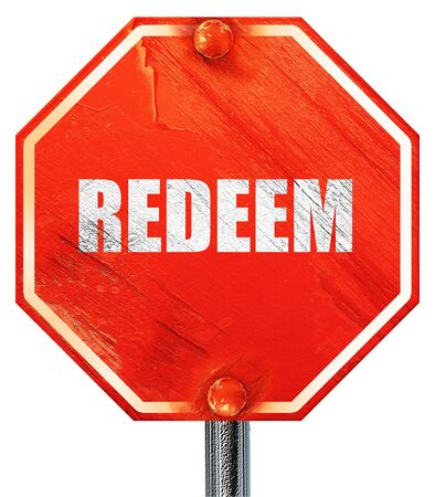 redeeming: redeem, 3D rendering, a red stop sign Stock Photo