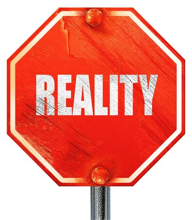 actuality: reality, 3D rendering, a red stop sign