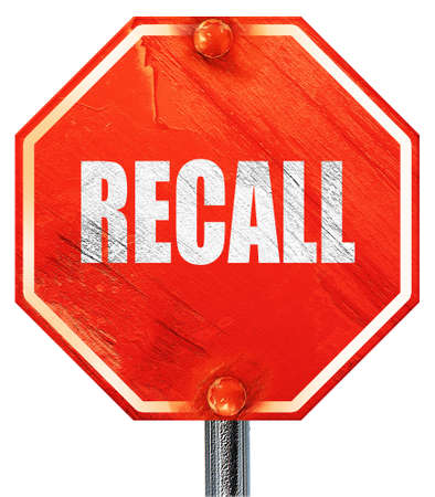 recall: recall, 3D rendering, a red stop sign