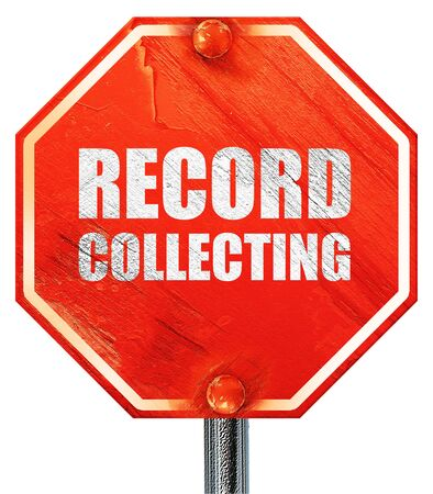 audiophile: record collecting, 3D rendering, a red stop sign